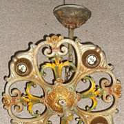 Art Nouveau Polychromed Ceiling Light Fixture