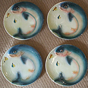 Vintage Brad Keeler Marked Figural Fish Plates - Two Sets of 4- 1940's