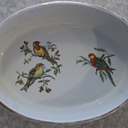 Pillivuyt & Co. Pilivite France Porcelain Birds and Berries Oval Baking Dish
