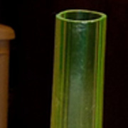 Large Vaseline Four Footed Art Glass Vase