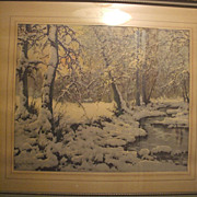 Large Scale Woodland Scene Print Circa 1920-40's Morris & Bendien Inc.
