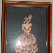Framed Victorian Needlepoint Lady in Pink Dress and Bonnet