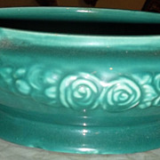 Aqua/Green Footed Bulb Bowl with Floral Decoration
