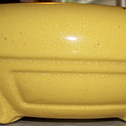 Art Deco Styled  Lemon Yellow Low Bulb Bowl