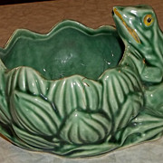 Vintage Green Frog on Planter - 1950's