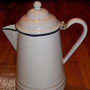 Enamel/Granite  White with Navy Trim Large Coffee Pot