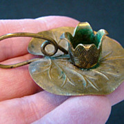 Antique Miniature VESTA Go To Bed LILY PAD Candle Holder Art Nouveau