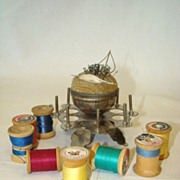 Antique Cast Metal Thread SPOOL HOLDER Caddy Stand, Velvet Pin Cushion, Spools & Pins