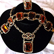 FABULOUS Sarah Coventry Wild Honey Topaz Glass Stones Demi-Parure