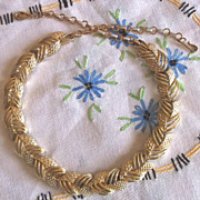Early Coro Goldtone Textured Modernist Choker Necklace