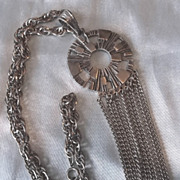Vintage Sarah Coventry Spanish Moss Antiqued Silvertone Tassel Necklace