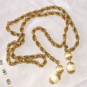 Vintage Judy Lee Twisted Goldtone Large Bead Necklace Sautoir Belt