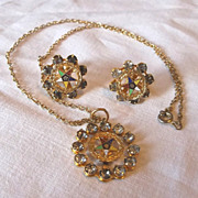 Vintage 1950s Order of the Eastern Star Rhinestone Goldtone Necklace  Earrings