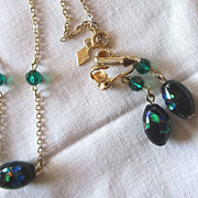 SALE PENDING Vintage Sarah Coventry Venetian Foiled Glass Necklace & Earring Set