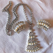 Vintage Moonlight Madness Rhinestone & Faux Pearl Necklace & Earring Set Original Boxes!