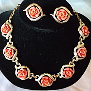 Sarah Coventry 1960 Fashion Titled Goldtone Coral Colored Rose Necklace & Earrings