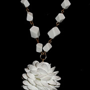 Vintage Early CORO White Abstract Lucite Cubist Necklace & Margarita Round Pendant