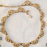 Vintage 1950s/60s Trifari Goldtone Lattice Work Diamond Shape Link Necklace