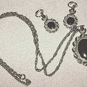 Vintage Emmons Black Script Reversible Pendant Necklace & Earrings