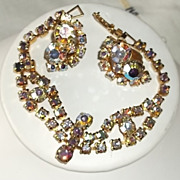 Stunning Vintage Aurora Borealis Rhinestone Goldtone Bracelet & Clip Earrings