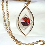 Vintage Sarah Coventry Volcano Rivoli Goldtone Necklace Modern 1975