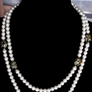 Vintage 1970s Simulated Glass Pearl Cloisonne' Style Bead Opera Long Length Necklace Nice!