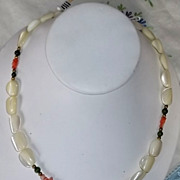 Vintage 1960s/70s Carved Mother of Pearl MOP Angel Skin Coral Jade Bead Necklace