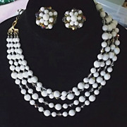 1950s White Clear Glass Grey AB Crystal Multi Strand Necklace & Earrings Set Demi
