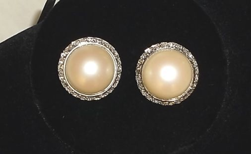 Vintage 1950s/60s Richelieu Faux Pearl Diamante Silvertone Clip Earrings NICE