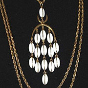 Stunning White Glass Bead Waterfall Cascade Bib Goldtone Chain Necklace