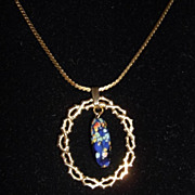 Vintage Freirich Goldtone Necklace Cobalt Blue Art Glass Pendant