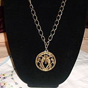 Vintage Big Bold Gemini The Twins Zodiac Pendant Necklace