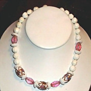 Gorgeous 50's Hobe' White Lucite Glass & Wedding Cake Venetian Bead On Chain