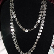Ultra Long Coin and Chain Necklace Silvertone Nice!