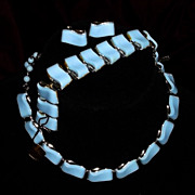 1950s Pegasus Coro Blue Tile Silvertone Parure Thermoset or Lucite Necklace Ear Bracelet