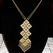 Etruscan Revival Unsigned Goldette Goldtone Necklace Filigree Dangles