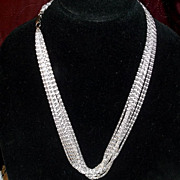 Vintage Lightweight Silvertone Sparkling Multi Chain Celebrity Necklace