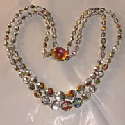 SALE PENDING Stunning 1950s Gray Glass Crystal Double Strand Necklace Gold Pink AB