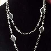 Vintage Clear Lucite Silvertone Chain Long Necklace Nice