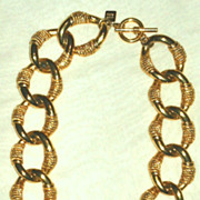 Early 80s Anne Klein Goldtone Rope Chain Link Necklace