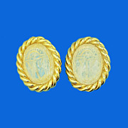Solid Glass Egyptian Scarab Earrings by Johansen