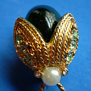 Cathe Emerald Green Bug Figural Pin