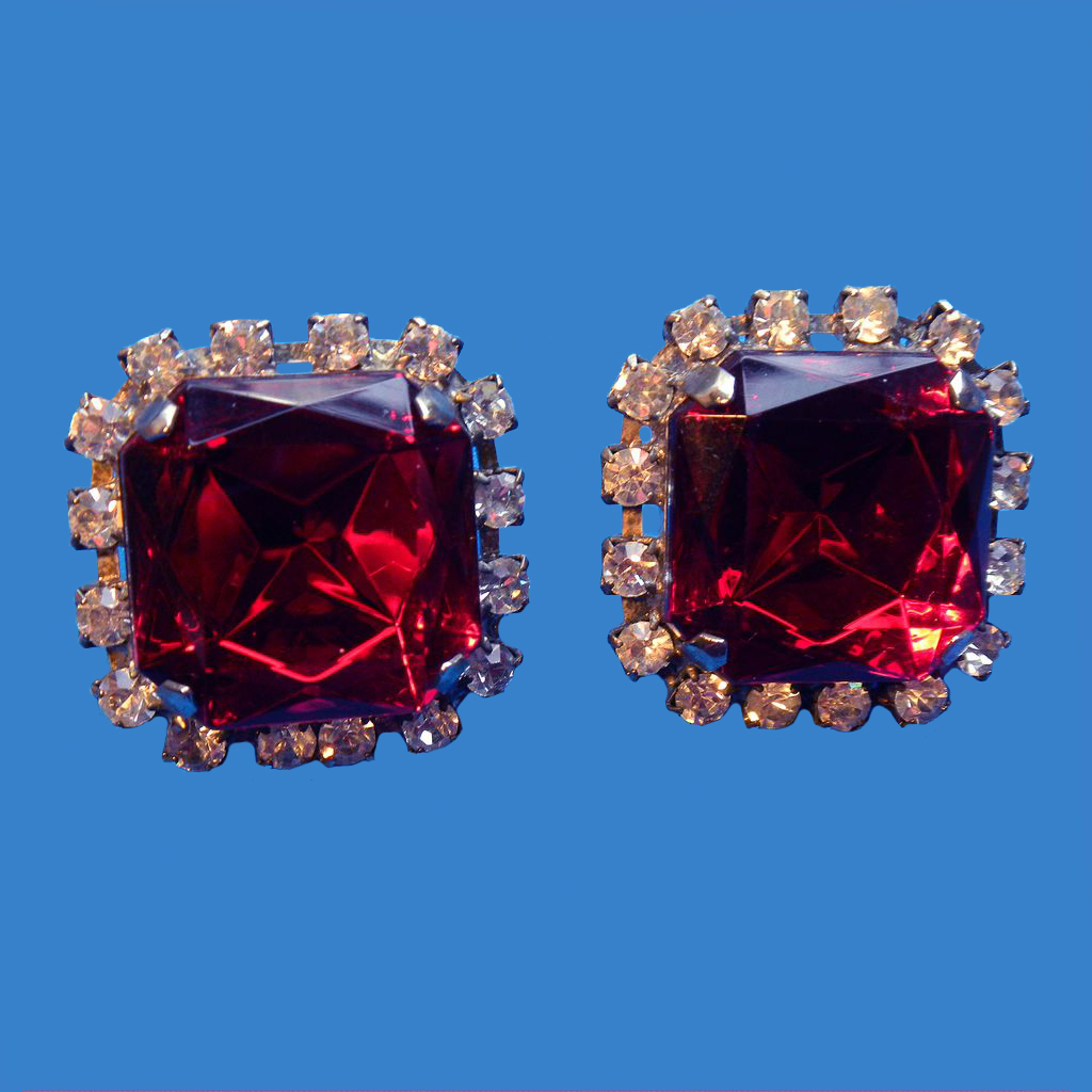 Large Ruby Red Rhinestone Earrings