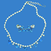 Light Blue & Sapphire Blue Necklace & Earrings