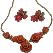 Beautiful Carved Celluloid Coral Necklace and Earrings with Simulated Seed Pearls