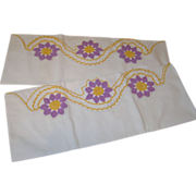 Lovely Vintage Shabby Chic Purple and Gold Crochet Pillowcases