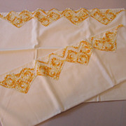 Lovely Vintage Golden Orange Crochet Pillowcases