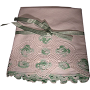 "Gorgeous Vintage 1930""s Hand Crocheted Pair of Two Pillowcases Mint on White"