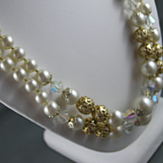 Classy Double Strand Simulated Pearl, Crystal and Gold Tone Bauble Necklace