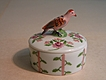 Vintage Limoges Round Trinket Box - Figural Bird, Pink Roses - Hand Painted Signed MB, Rochard